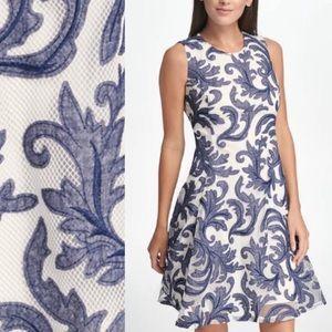 DKNY Sleeveless Denim Print Mesh Fit & Flare Dress